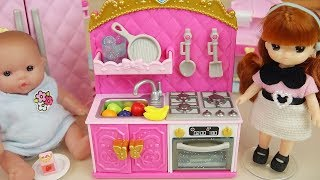 Baby doll Mini kitchen and cooking food toys baby Doli play