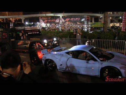 Ferrari Crash!! 458 Italia Liberty Walk Widebody Rear Ended By Jeep At Sema 2014! video