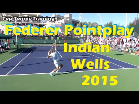 Roger Federer Pointplay | Indian Wells 2015 | Court Level View
