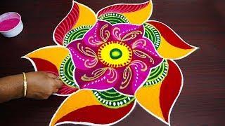 simple colourful rangoli with 7x4 dots - pongal kolam designs 2019 - big sankranthi & bhogi muggulu