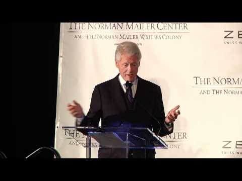 President Bill Clinton presents the Norman Mailer Prize to Keith Richards