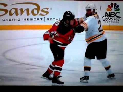 Shawn Thorton vs Cam Janssen  LONG RESPECTABLE FIGHT!! BOS vs NJ  1/4/12