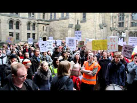 Glasgow Uni Anti-cuts protesters outside Court Meeting