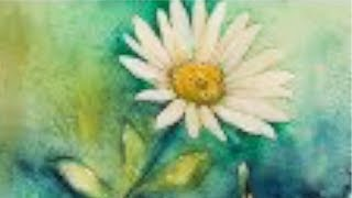 Watercolor tutorial (Real Time) of a Daisy, easy step by step painting