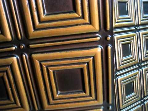 Faux copper ceiling tiles