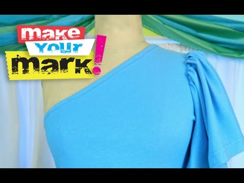 T-shirt redo: How to make a one shoulder knit blouse DIY