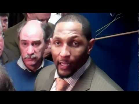 Ray Lewis addresses the end of the game & Billy Cundiffs' missed Field Goal. Recorded on January 22, 2012 using a Flip Video camera.