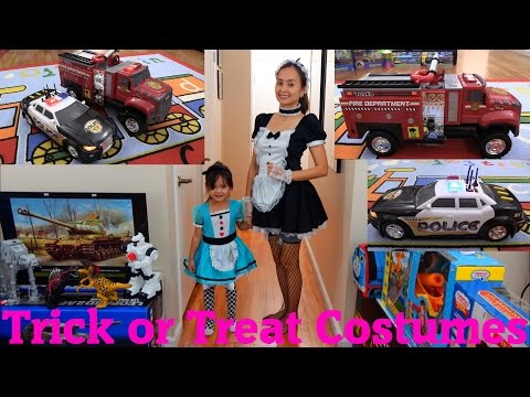 Hulyan & Maya's Halloween Trick or Treat Costumes + Tonka Firetruck and Police Vehicle Toys