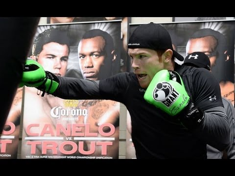 Saul Canelo Alvarez Dents Heavy Bag Training for Austin Trout Image 1
