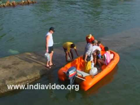 Visitors enjoying at Dona Paula beach, Goa