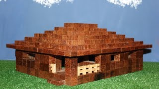Minecraft House - How to Build in Real  Wood cubes -  Kids Toys