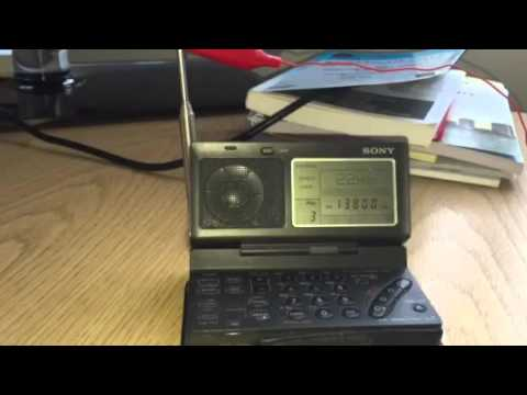 Sony ICF-SW100 + metal window frame antenna: Radio Tamazuj Madagascar 13800 KHz