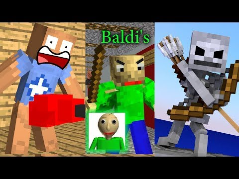 Monster School: Kick The Buddy - Baldi's Basic - Bowmasters Chllenge - Mineraft Animation