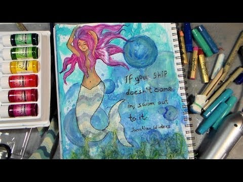 Mixed Media Fun: mermaid journal page