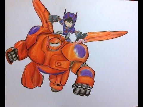 Cómo dibujar a Baymax y Hiro (6 Grandes Heroes) | How to draw Baymax and Hiro (Big Hero 6) | Disney