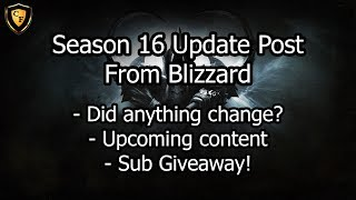 [D3] Season 16 Update Post From Blizzard