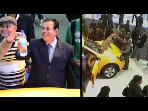Anand Mahindra Petting Hungama's Augmented Cheetah - Auto Expo