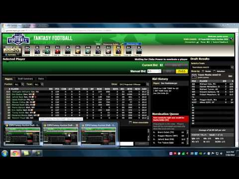 How to Auction Draft like a BOSS   ESPN NFL Fantasy League 12 12 Head    Espn Fantasy Football Draft Board
