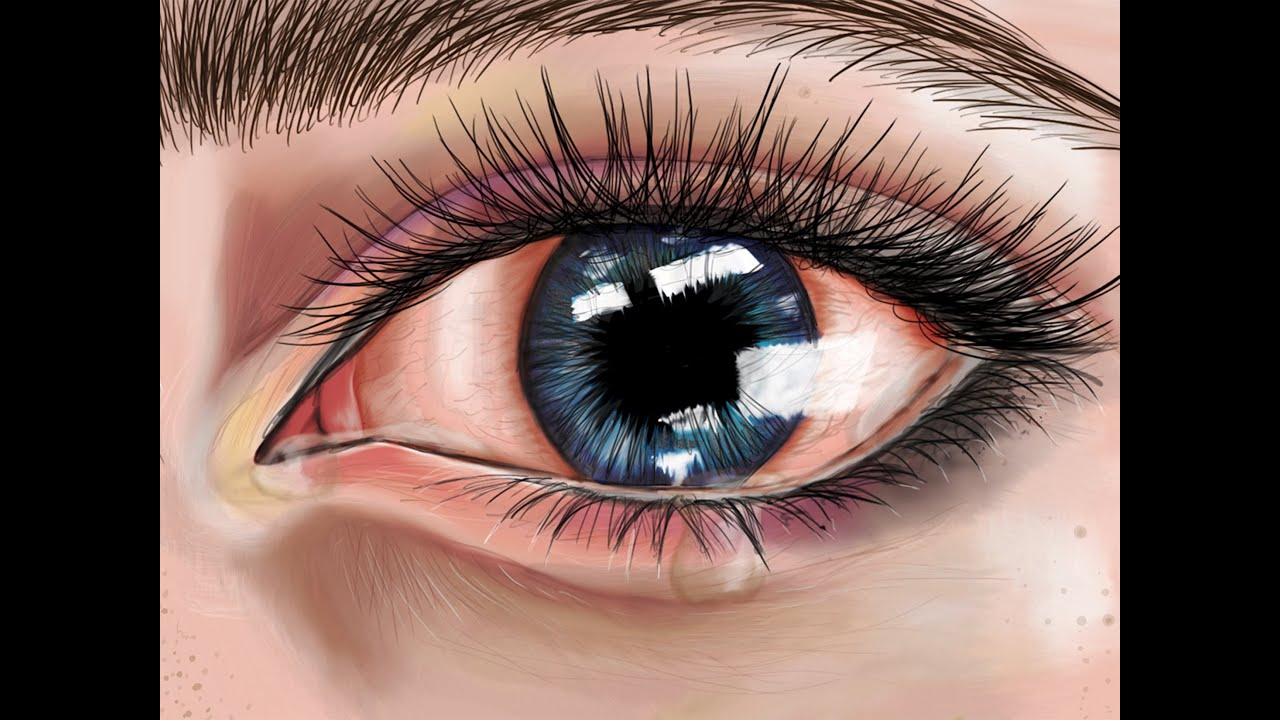 Drawings of eyes crying