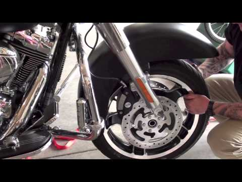 How to remove reinstall front wheel tire fender from Harley Davidson Motorcycle Street Glide