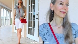 Classic Fashion/Style Over 40/Over 50: Red, White, and Gray Feminine Shorts Outfit
