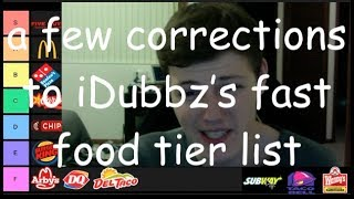 a few corrections to iDubbz's fast food tier list