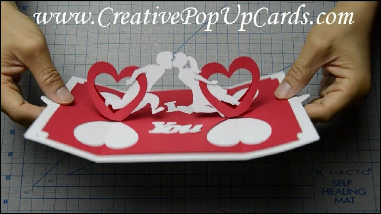 How to make a valentines day pop up card twisting hearts for Twisting hearts pop up card template