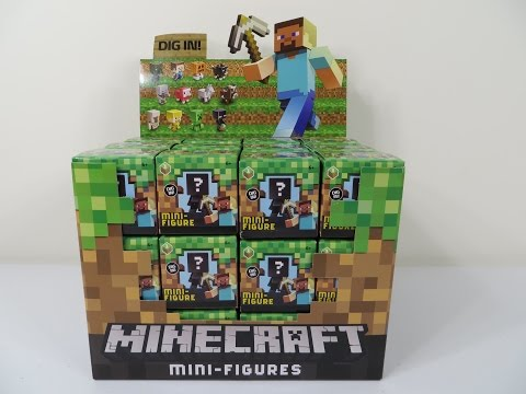 Minecraft Grass Series 1 Blind Box Mini Figures Unboxing Toy Opening Review Creeper Zombie Enderman