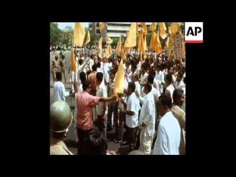 LIB 6-6-72 INDIA'S RIGHT WING GROUP, JANSANGH, MARCH IN PROTEST TO ALL INDIA RADIO