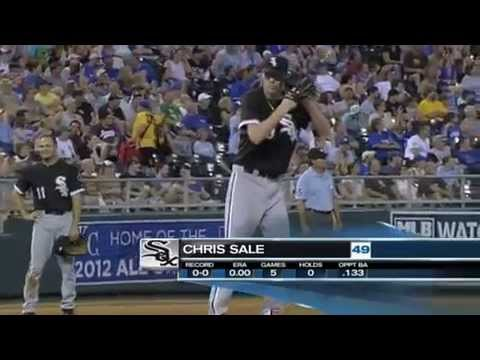 Chris Sale slings in three (3) consecutive 99 mph fastballs to earn the K @MLB