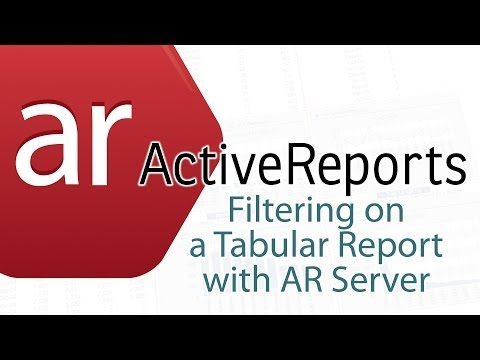ActiveReports: Filtering on a Tabular Report with AR Server