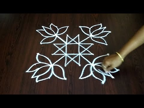 New 6 x 6 Chukkala Muggulu Design || Easy Flower Rangoli Design || Fashion World