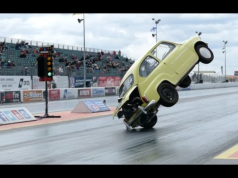 Fiat 600 Crashes And Flips Over At Santa Pod Raceway