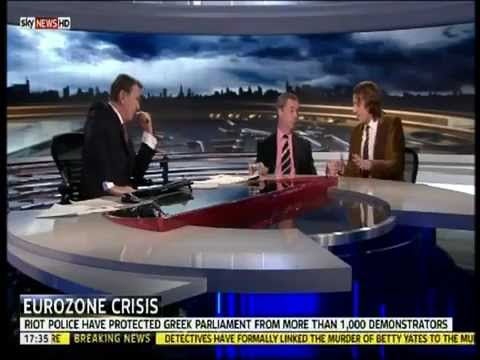 UKIP Nigel Farage - Debating Greece Leaving the EURO,  Sky News Feb 2012