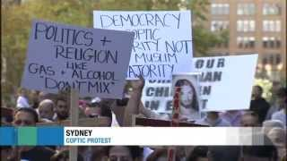 Coptic Christians in Sydney protest to stand in solidarity with Coptic Christians in Egypt.