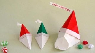 Tutorial: Origami Santa Gift Box  --cajita Pap Noel