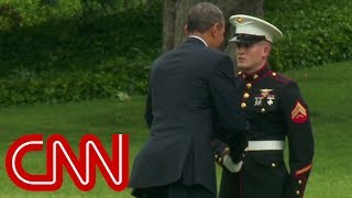 President Obama forgot to salute when he boarded Marine One. He later realized his mistake and went