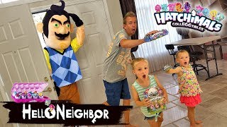 Hello Neighbor in Real Life Statues! Hatchimals CollEGGtibles Toy Scavenger Hunt!!!