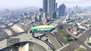 Atomic Blimp fly about- los santos overlook  HD 720 Grand theft auto 5 GTA V