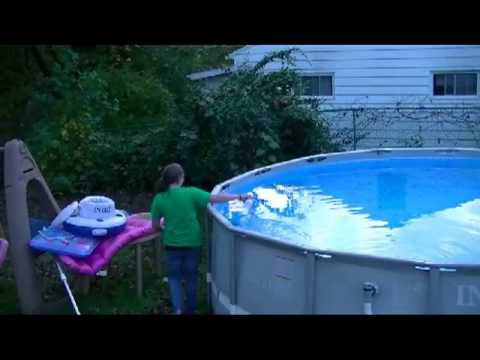 Winterizing Our Intex Above Ground Pool Chemicals And Cover Youtube