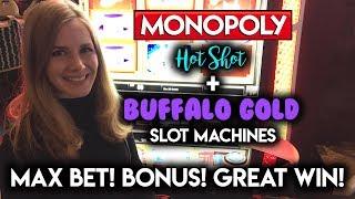 GREAT Win on FreePlay! Buffalo Gold and Monopoly Hot Shot Slot Machine BONUS!