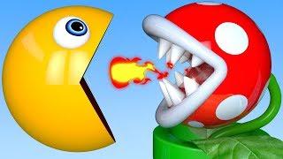 Learn Colors PACMAN vs Plant and Farm Fruit Soccer Ball Magic Slide for Kid Children