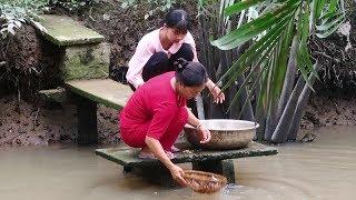 Hai Mẹ Con Mần Cá Lóc Nấu Cháo Cá Lóc Rau Đắng - Em Gái Quê - Bến Tre