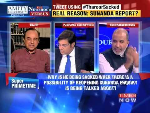 Shashi Tharoor Sacked - Dr Subramanian Swamy Vs Sanjay Jha (13 Oct 2014) video