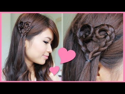 Valentine's Day Heart Braid Hairstyle Tutorial + NuMe Giveaway!