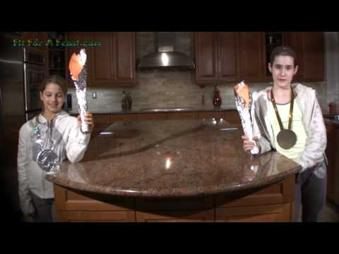 Winter Olympics Party Crafts - How to make Olympics Party Invitations-Olympic Torch and Medals
