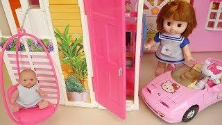 Baby doll house and Hello kitty car play baby Doli house