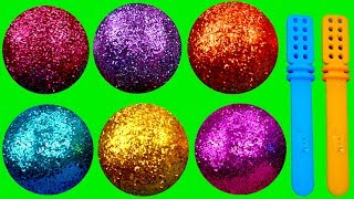 Learn Colors with Play Doh Ice Cream Glitter Balls PJ Masks Surprise Toys PAW Patrol Surprise Eggs