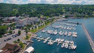 Aerial video of Finger Lakes Region - Corning, Watkins Glen, Montour Falls and Geneva