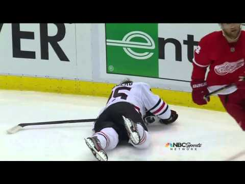 Viktor Stalberg injury in 1st May 20 2013 Chicago Blackhawks vs Detroit Red Wings NHL Hockey